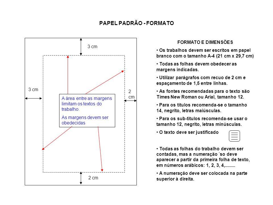 PAPEL PADRÃO - FORMATO 3 cm 2 cm A área entre as margens limitam os textos do trabalho. As margens devem ser obedecidas FORMATO E DIMENSÕES Os trabalh