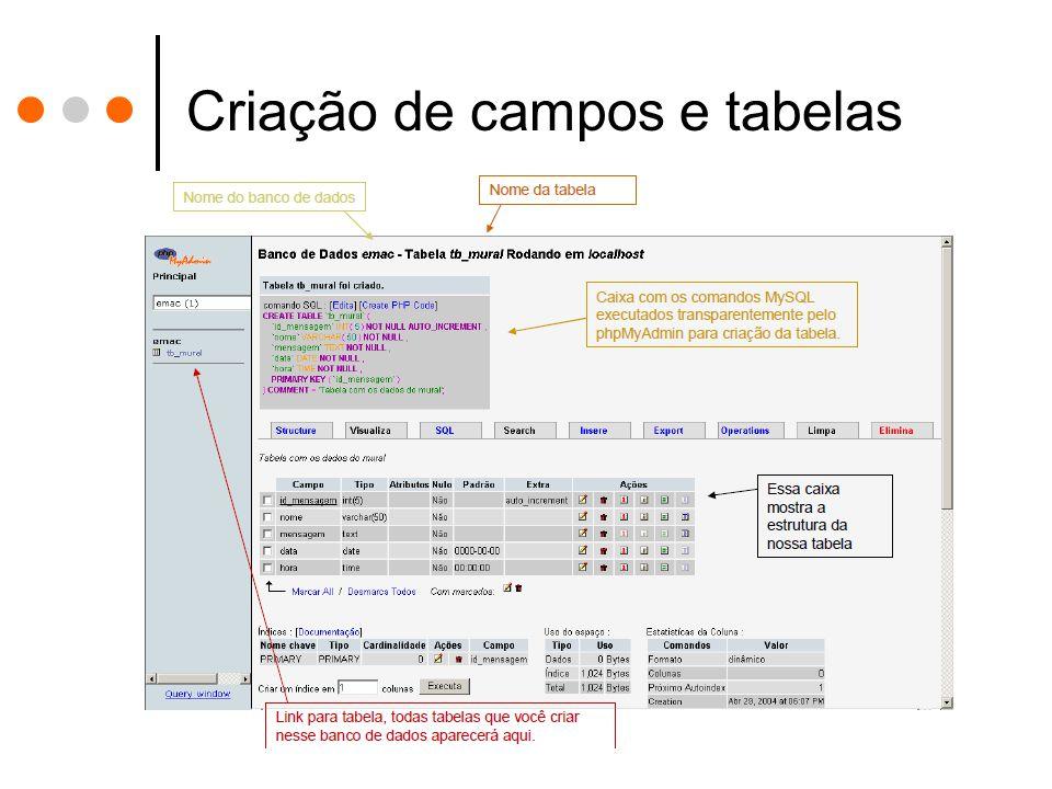 Criação de campos e tabelas