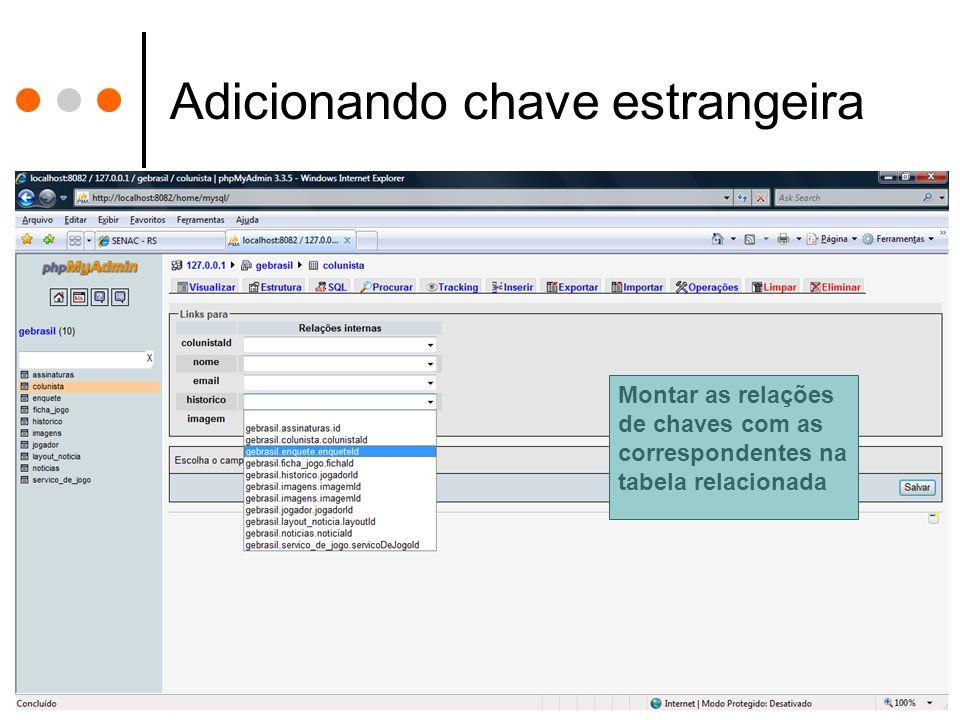 Adicionando chave estrangeira Montar as relações de chaves com as correspondentes na tabela relacionada