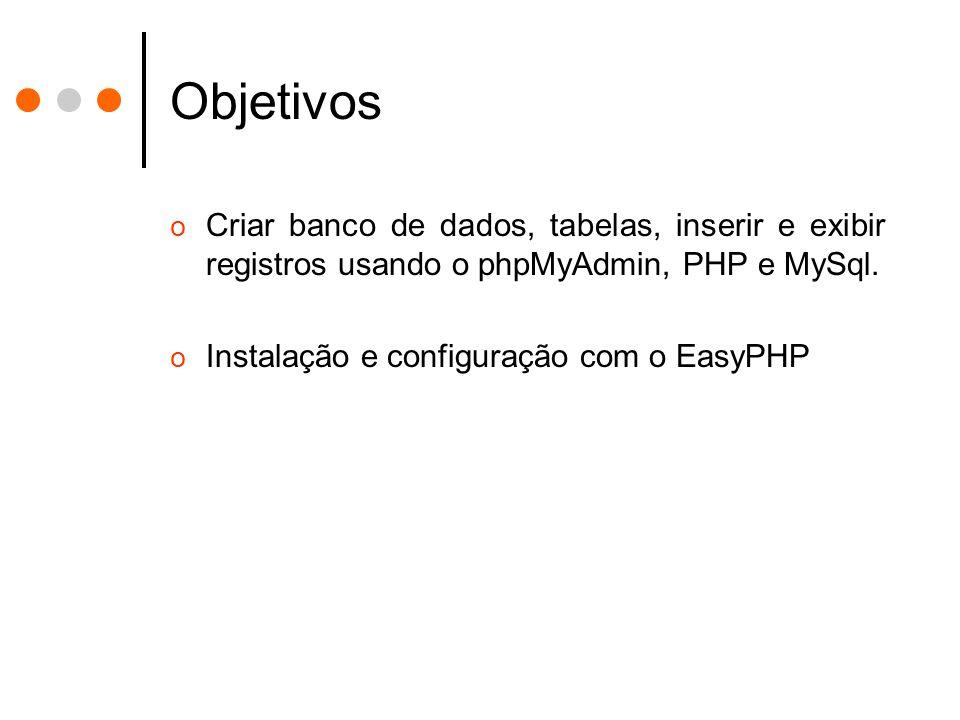 Objetivos o Criar banco de dados, tabelas, inserir e exibir registros usando o phpMyAdmin, PHP e MySql.