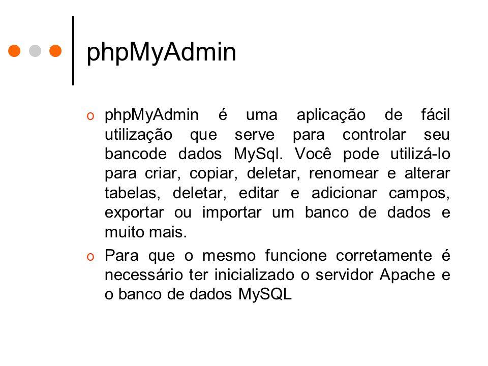 Acessando o phpMyAdmin via EasyPHP o A configuração padrão do EasyPHP, considerando o apache instalado o servido da porta padrão (80) é: ohttp://localhost/home/mysql ouhttp://localhost/home/mysql ohttp://127.0.0.1/home/mysqlhttp://127.0.0.1/home/mysql oPara tanto é necessário que os serviços Apache e MySql estejam rodando.