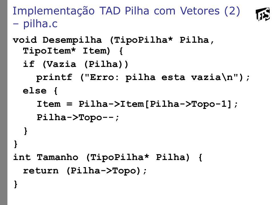 Implementação TAD Pilha com Vetores (2) – pilha.c void Desempilha (TipoPilha* Pilha, TipoItem* Item) { if (Vazia (Pilha)) printf (