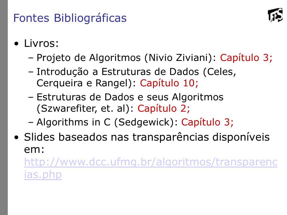 Fontes Bibliográficas Livros: –Projeto de Algoritmos (Nivio Ziviani): Capítulo 3; –Introdução a Estruturas de Dados (Celes, Cerqueira e Rangel): Capít