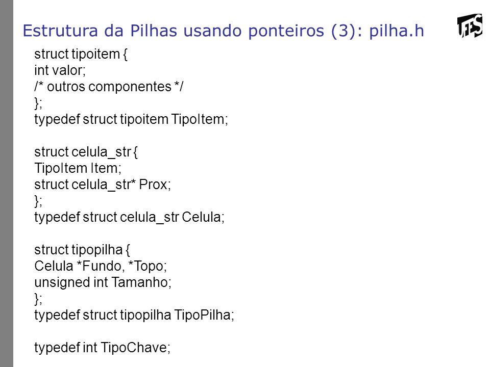 Estrutura da Pilhas usando ponteiros (3): pilha.h struct tipoitem { int valor; /* outros componentes */ }; typedef struct tipoitem TipoItem; struct ce