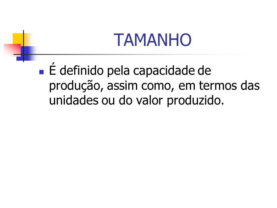 TAMANHO É definido pela capacidade de produção, assim como, em termos das unidades ou do valor produzido.