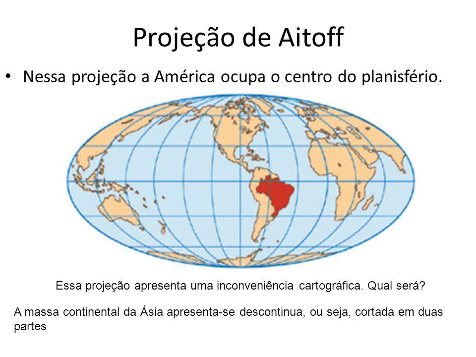 Projeção de Aitoff Nessa projeção a América ocupa o centro do planisfério. Essa projeção apresenta uma inconveniência cartográfica. Qual será? A massa