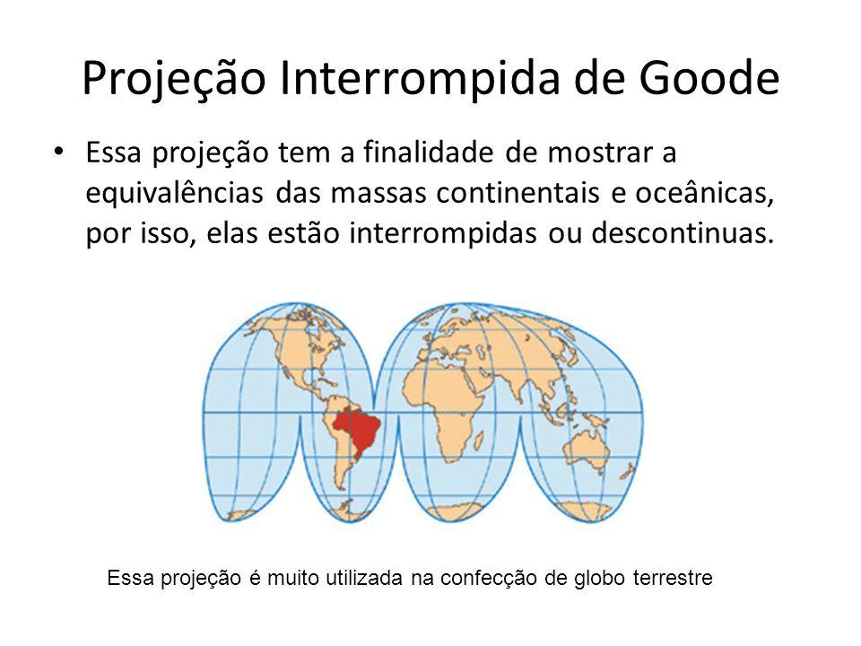 Projeção Interrompida de Goode Essa projeção tem a finalidade de mostrar a equivalências das massas continentais e oceânicas, por isso, elas estão int