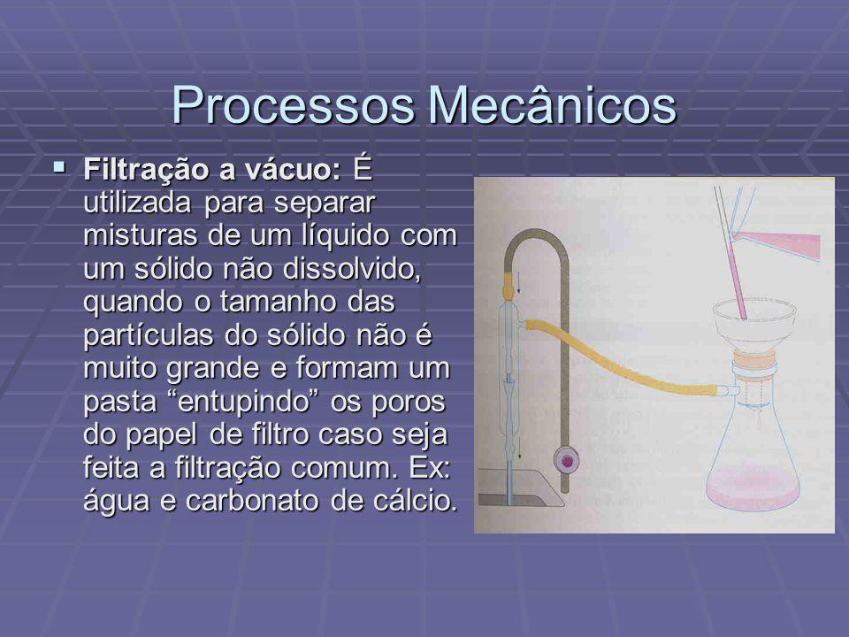 Processos Mecânicos  Filtração a vácuo: É utilizada para separar misturas de um líquido com um sólido não dissolvido, quando o tamanho das partículas