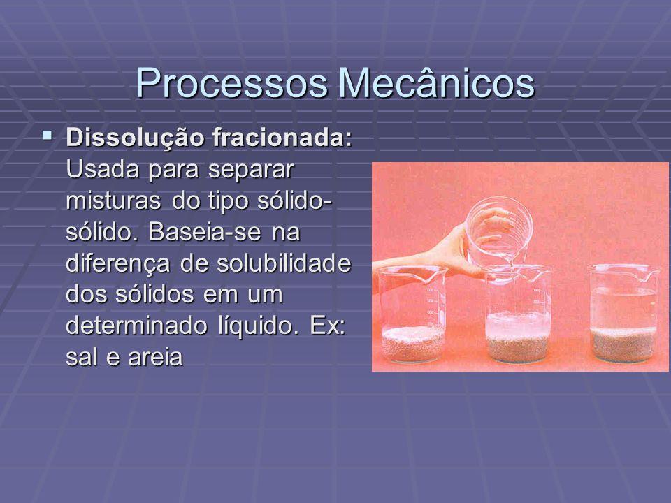 Processos Mecânicos  Dissolução fracionada: Usada para separar misturas do tipo sólido- sólido. Baseia-se na diferença de solubilidade dos sólidos em