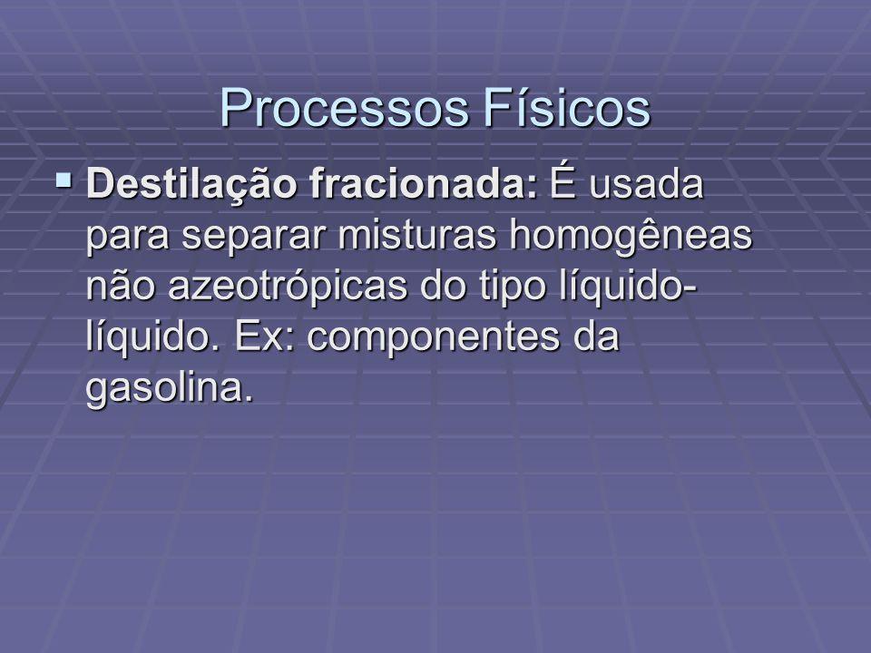 Processos Físicos  Destilação fracionada: É usada para separar misturas homogêneas não azeotrópicas do tipo líquido- líquido. Ex: componentes da gaso