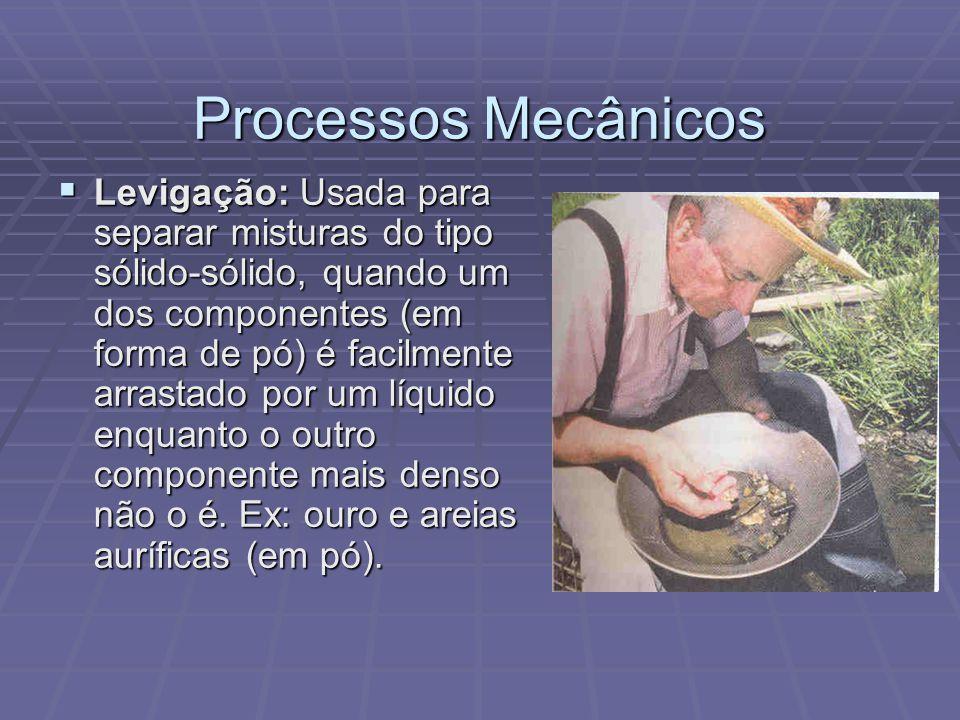 Processos Mecânicos  Levigação: Usada para separar misturas do tipo sólido-sólido, quando um dos componentes (em forma de pó) é facilmente arrastado