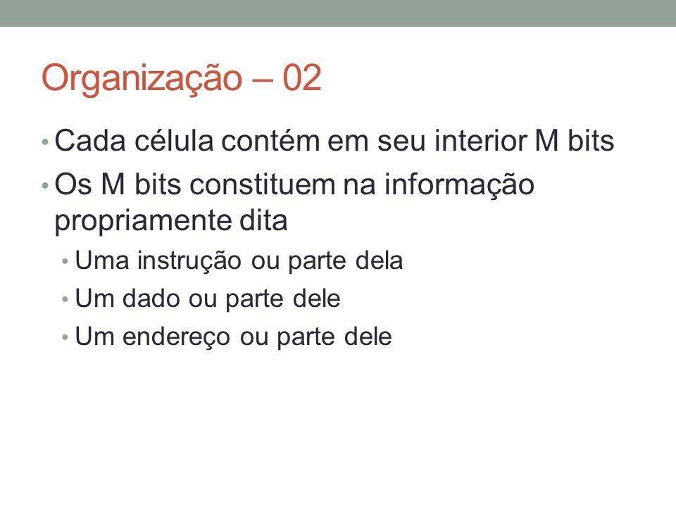 Organização – 03 257A 257B Memória Principal 1F 2C conteúdo endereço
