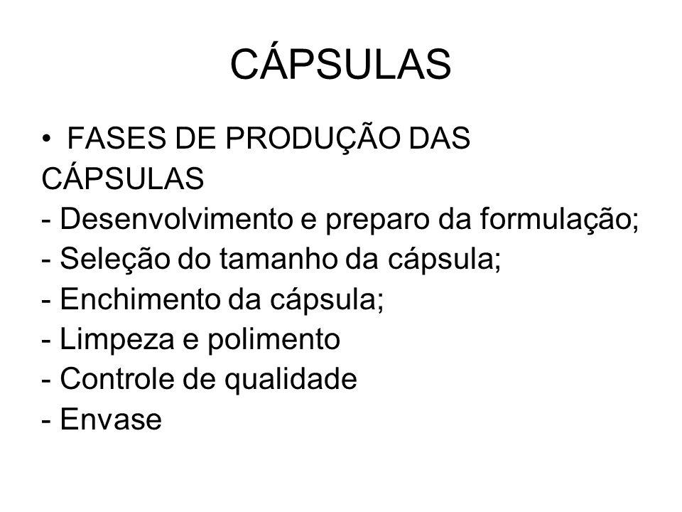 CÁPSULAS FASES DE PRODUÇÃO DAS CÁPSULAS - Desenvolvimento e preparo da formulação; - Seleção do tamanho da cápsula; - Enchimento da cápsula; - Limpeza