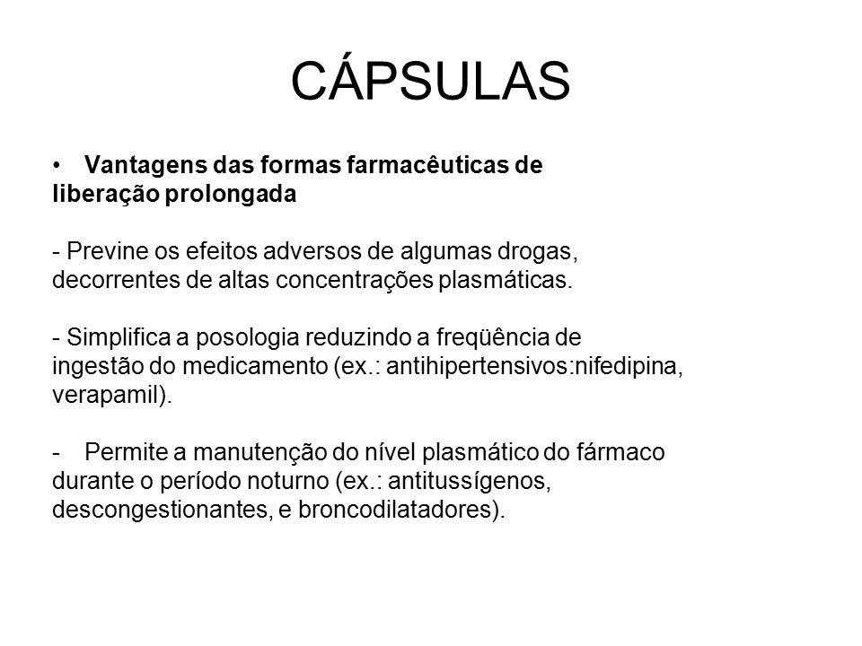 CÁPSULAS Vantagens das formas farmacêuticas de liberação prolongada - Previne os efeitos adversos de algumas drogas, decorrentes de altas concentraçõe
