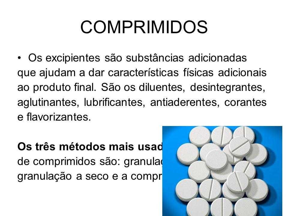 COMPRIMIDOS Os excipientes são substâncias adicionadas que ajudam a dar características físicas adicionais ao produto final. São os diluentes, desinte