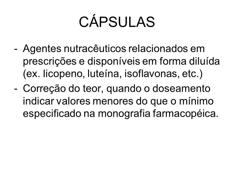 CÁPSULAS -Agentes nutracêuticos relacionados em prescrições e disponíveis em forma diluída (ex. licopeno, luteína, isoflavonas, etc.) -Correção do teo