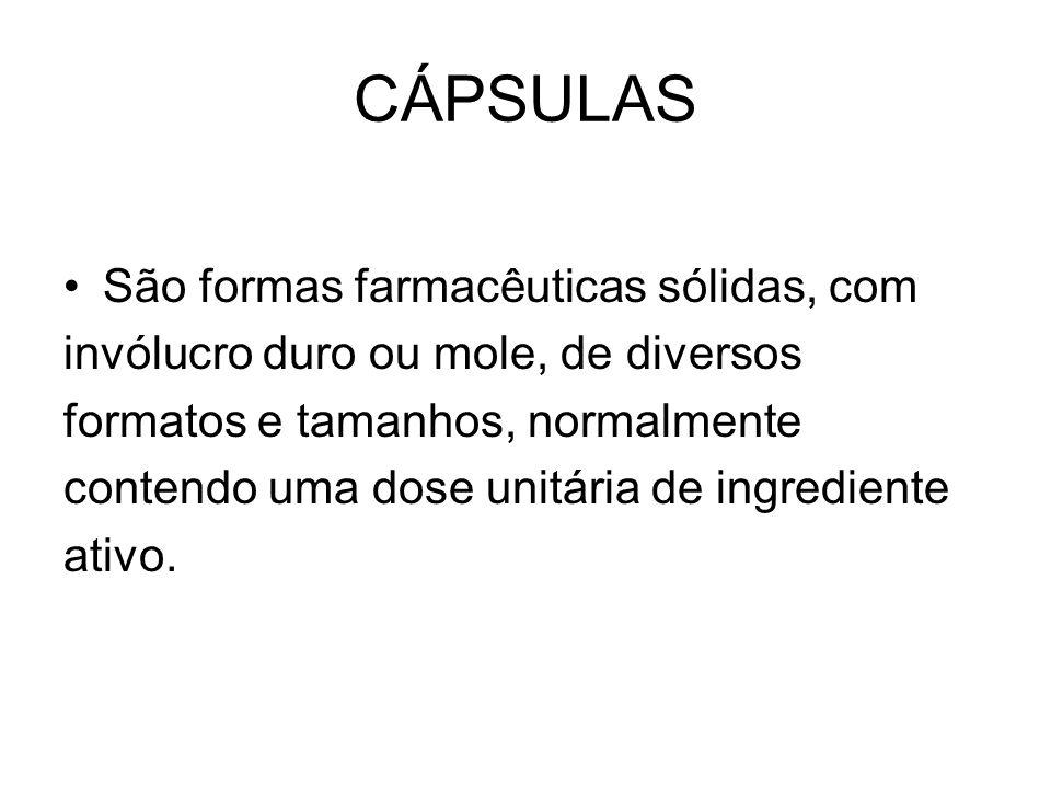 CÁPSULAS CÁPSULAS GASTRO- RESISTENTES -São cápsulas de liberação modificada destinadas a resistir ao fluido gástrico e liberar seus ingredientes ativos no fluido intestinal.Elas são preparadas, provendo cápsulas duras ou moles com um invólucro gastro-resistente (cápsulas entéricas).
