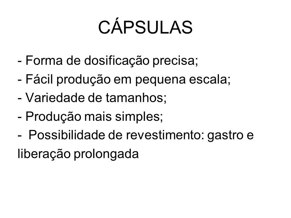CÁPSULAS - Forma de dosificação precisa; - Fácil produção em pequena escala; - Variedade de tamanhos; - Produção mais simples; -Possibilidade de reves