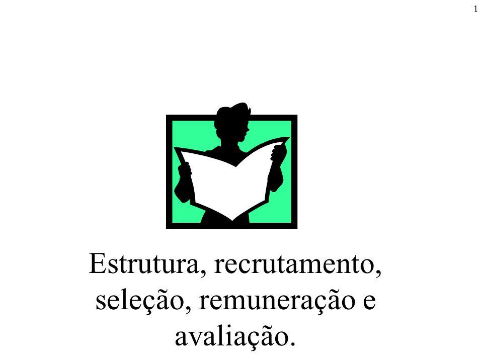 1 Estrutura, recrutamento, seleção, remuneração e avaliação.