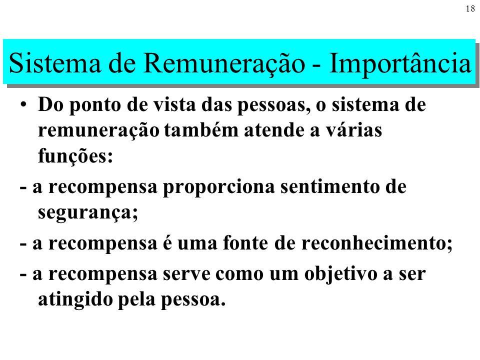 18 Sistema de Remuneração - Importância Do ponto de vista das pessoas, o sistema de remuneração também atende a várias funções: - a recompensa proporciona sentimento de segurança; - a recompensa é uma fonte de reconhecimento; - a recompensa serve como um objetivo a ser atingido pela pessoa.