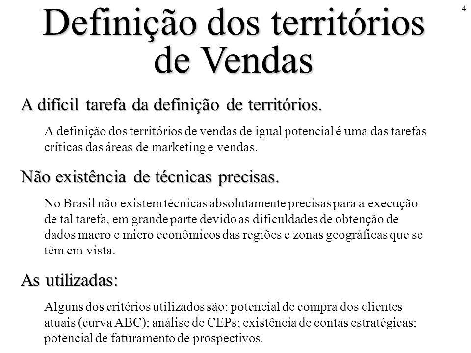 4 Definição dos territórios de Vendas A difícil tarefa da definição de territórios. A definição dos territórios de vendas de igual potencial é uma das