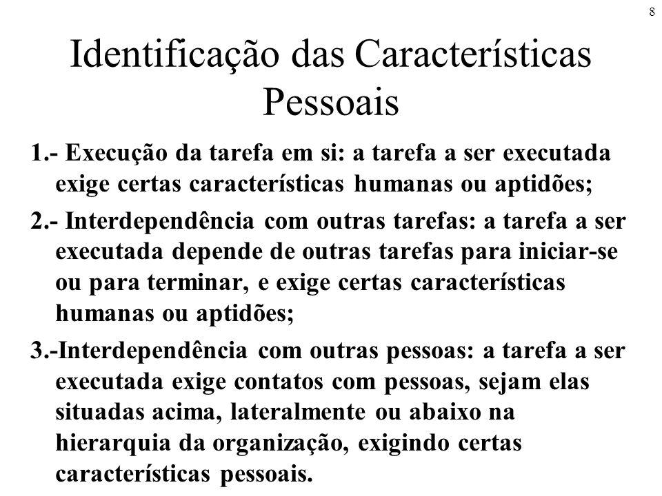 8 Identificação das Características Pessoais 1.- Execução da tarefa em si: a tarefa a ser executada exige certas características humanas ou aptidões;