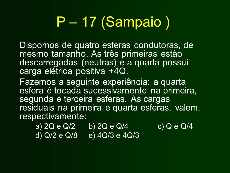 P – 17 (Sampaio ) Dispomos de quatro esferas condutoras, de mesmo tamanho. As três primeiras estão descarregadas (neutras) e a quarta possui carga elé
