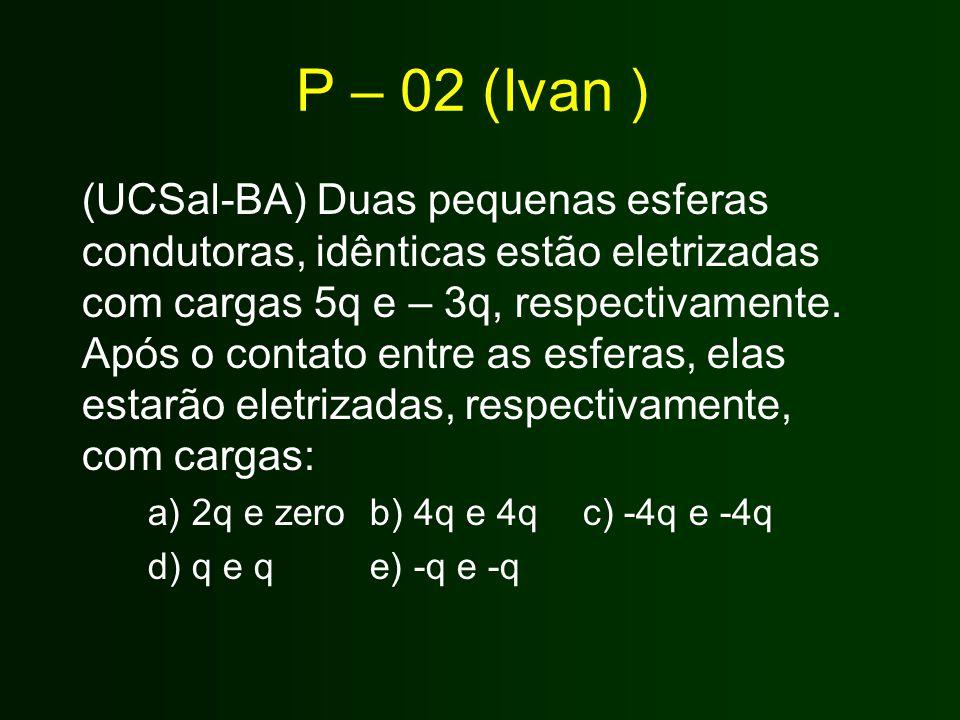P – 02 (Ivan ) (UCSal-BA) Duas pequenas esferas condutoras, idênticas estão eletrizadas com cargas 5q e – 3q, respectivamente. Após o contato entre as