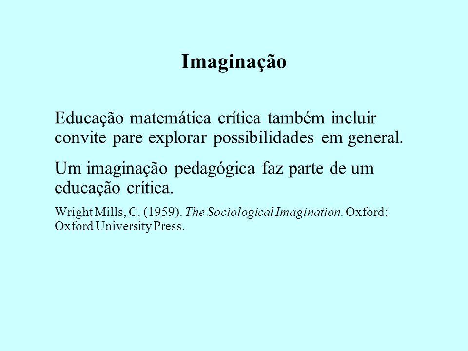Imaginação Educação matemática crítica também incluir convite pare explorar possibilidades em general. Um imaginação pedagógica faz parte de um educaç