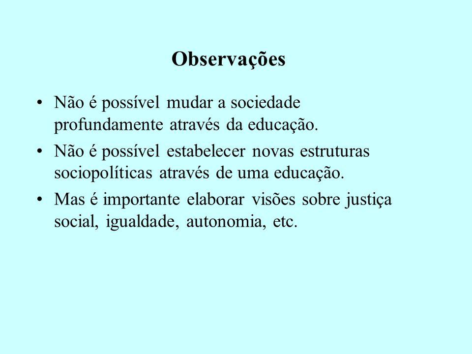 Observações Não é possível mudar a sociedade profundamente através da educação. Não é possível estabelecer novas estruturas sociopolíticas através de