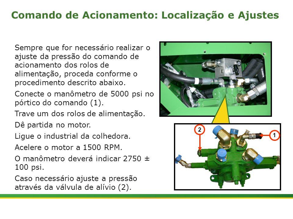  Colhedora de Cana 3520 & 3522 : Rolos Alimentadores   Janeiro, 201010 Sempre que for necessário realizar o ajuste da pressão do comando de acionament