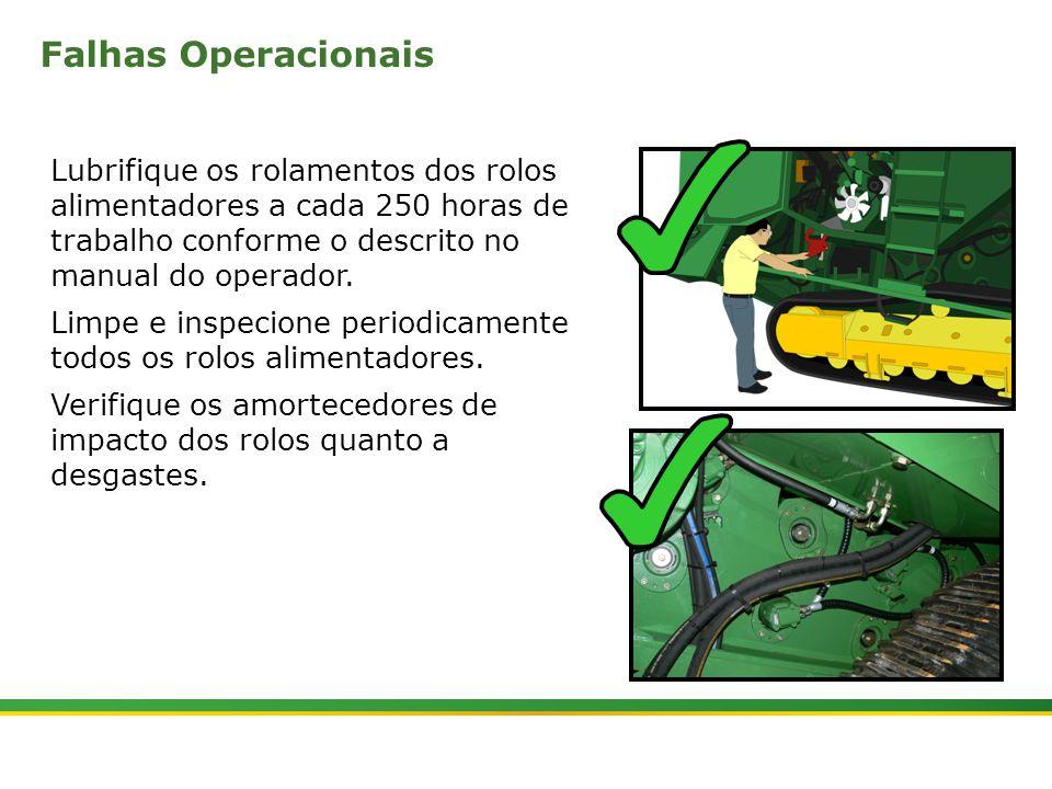  Colhedora de Cana 3520 & 3522 : Rolos Alimentadores   Janeiro, 201011 Lubrifique os rolamentos dos rolos alimentadores a cada 250 horas de trabalho c