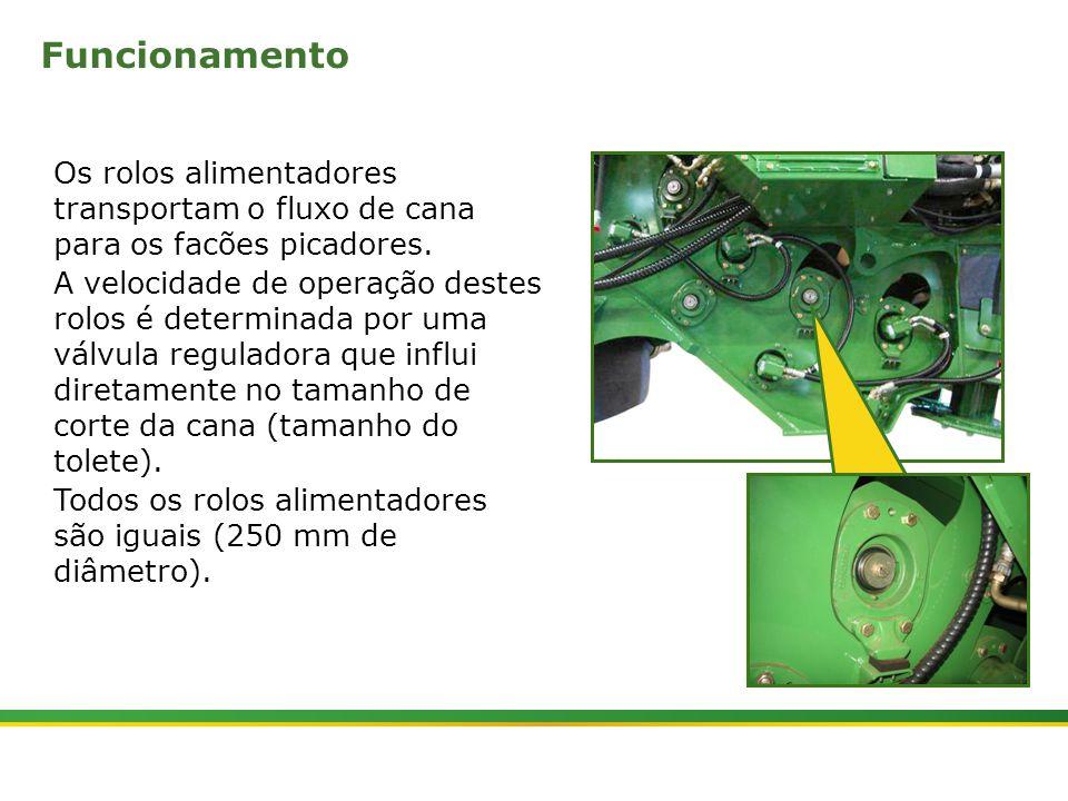 |Colhedora de Cana 3520 & 3522 : Rolos Alimentadores | Janeiro, 20103 Os rolos alimentadores são acionados através da tecla (1) no console lateral direito, além dos rolos alimentadores esta tecla aciona também o cortador de base, picador e divisores de linhas.