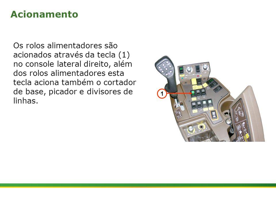  Colhedora de Cana 3520 & 3522 : Rolos Alimentadores   Janeiro, 20103 Os rolos alimentadores são acionados através da tecla (1) no console lateral dir