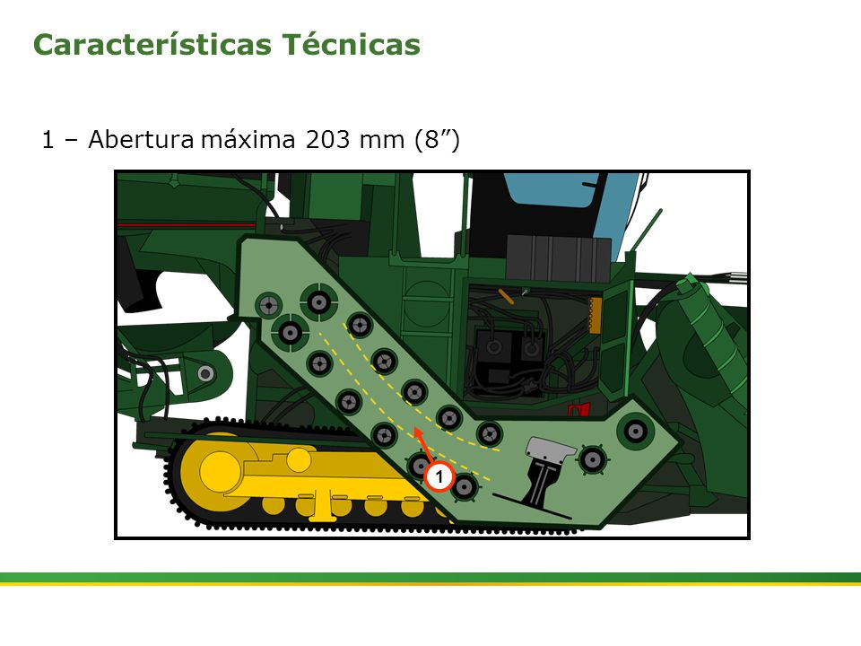 """ Colhedora de Cana 3520 & 3522 : Rolos Alimentadores   Janeiro, 20105 1 – Abertura máxima 203 mm (8"""") 1 Características Técnicas"""
