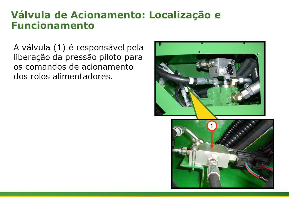  Colhedora de Cana 3520 & 3522 : Rolos Alimentadores   Janeiro, 20108 A válvula (1) é responsável pela liberação da pressão piloto para os comandos de