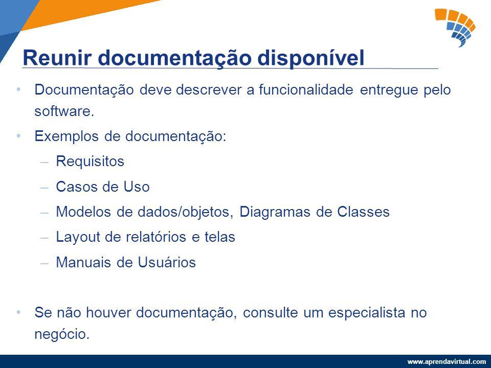 www.aprendavirtual.com Documentação deve descrever a funcionalidade entregue pelo software. Exemplos de documentação: –Requisitos –Casos de Uso –Model