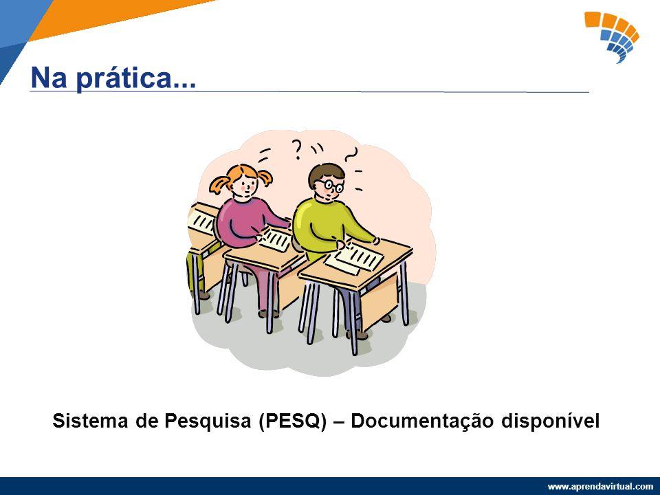 www.aprendavirtual.com Na prática... Sistema de Pesquisa (PESQ) – Documentação disponível