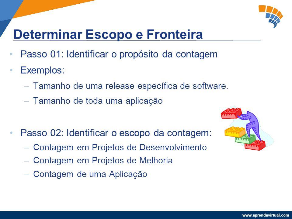 www.aprendavirtual.com Passo 01: Identificar o propósito da contagem Exemplos: –Tamanho de uma release específica de software. –Tamanho de toda uma ap