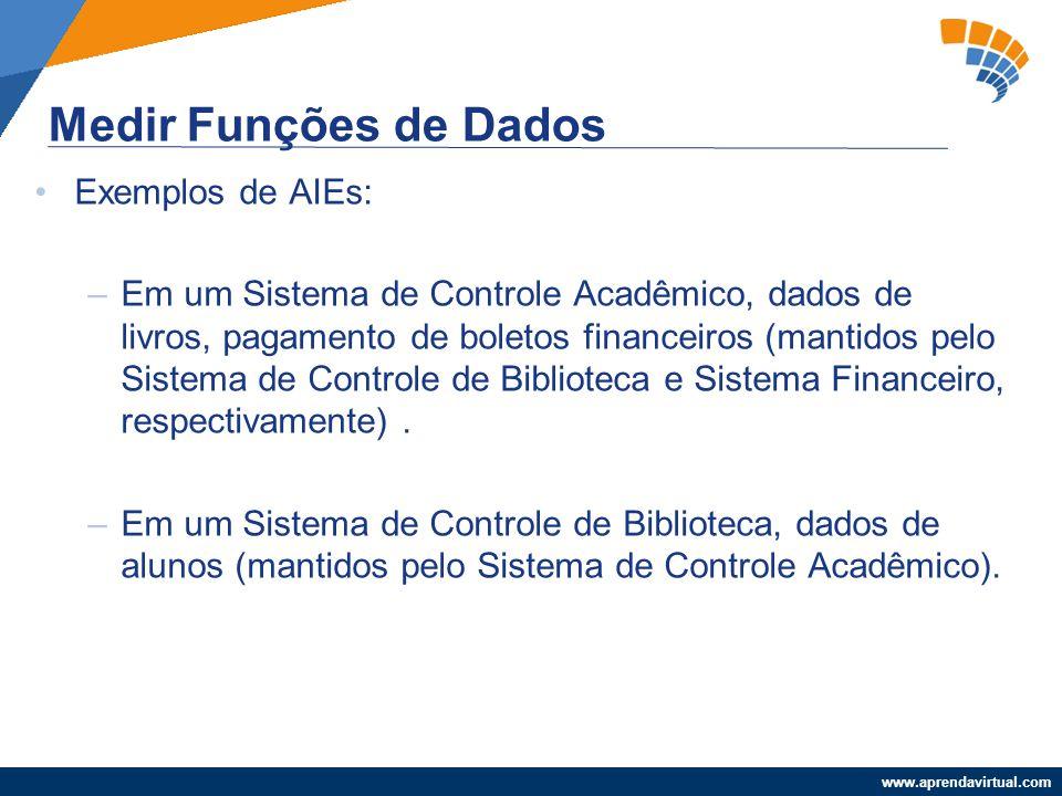 www.aprendavirtual.com Exemplos de AIEs: –Em um Sistema de Controle Acadêmico, dados de livros, pagamento de boletos financeiros (mantidos pelo Sistem