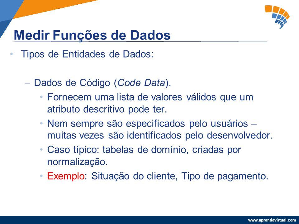 www.aprendavirtual.com Tipos de Entidades de Dados: –Dados de Código (Code Data). Fornecem uma lista de valores válidos que um atributo descritivo pod