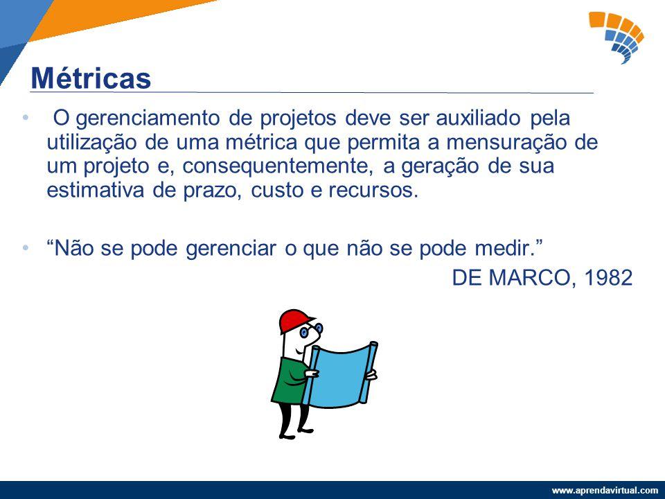 www.aprendavirtual.com O gerenciamento de projetos deve ser auxiliado pela utilização de uma métrica que permita a mensuração de um projeto e, consequ