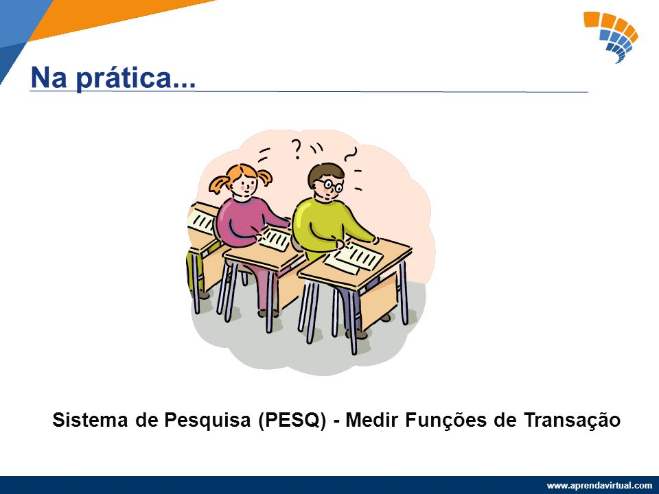 www.aprendavirtual.com Na prática... Sistema de Pesquisa (PESQ) - Medir Funções de Transação