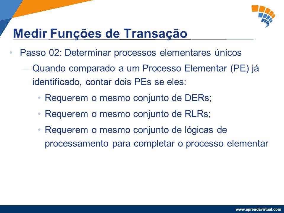 www.aprendavirtual.com Passo 02: Determinar processos elementares únicos –Quando comparado a um Processo Elementar (PE) já identificado, contar dois P