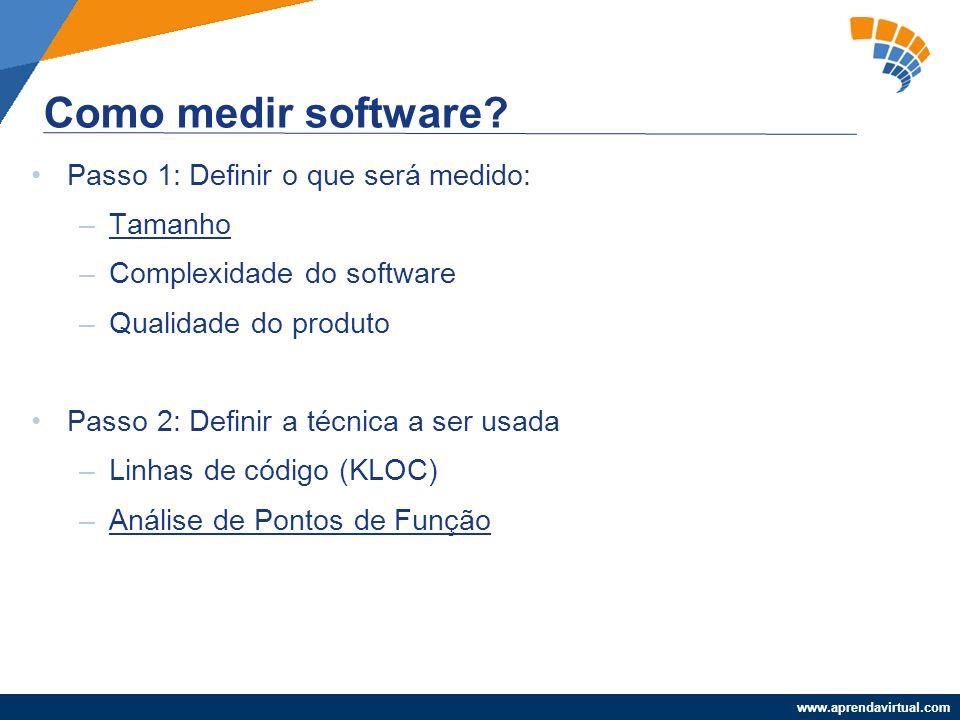 www.aprendavirtual.com Passo 1: Definir o que será medido: –Tamanho –Complexidade do software –Qualidade do produto Passo 2: Definir a técnica a ser u