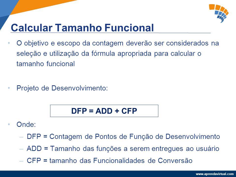 www.aprendavirtual.com O objetivo e escopo da contagem deverão ser considerados na seleção e utilização da fórmula apropriada para calcular o tamanho