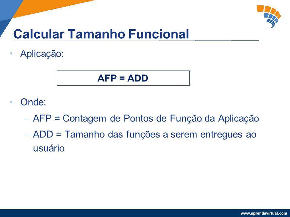 www.aprendavirtual.com Aplicação: Onde: –AFP = Contagem de Pontos de Função da Aplicação –ADD = Tamanho das funções a serem entregues ao usuário Calcu
