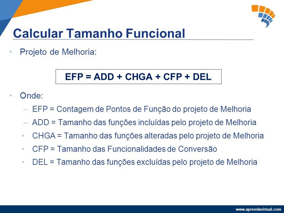 www.aprendavirtual.com Projeto de Melhoria: Onde: –EFP = Contagem de Pontos de Função do projeto de Melhoria –ADD = Tamanho das funções incluídas pelo