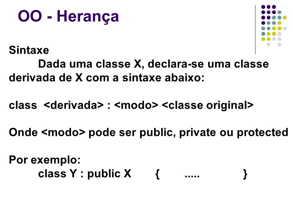 OO - Herança Sintaxe Dada uma classe X, declara-se uma classe derivada de X com a sintaxe abaixo: class : Onde pode ser public, private ou protected Por exemplo: class Y : public X {.....