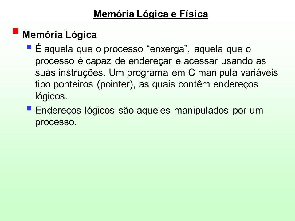 Memória Lógica e Física  Memória Física  Implementada pelos circuitos integrados de memória, pela eletrônica do computador  Endereços físicos são aqueles que correspondem a uma posição real de memória